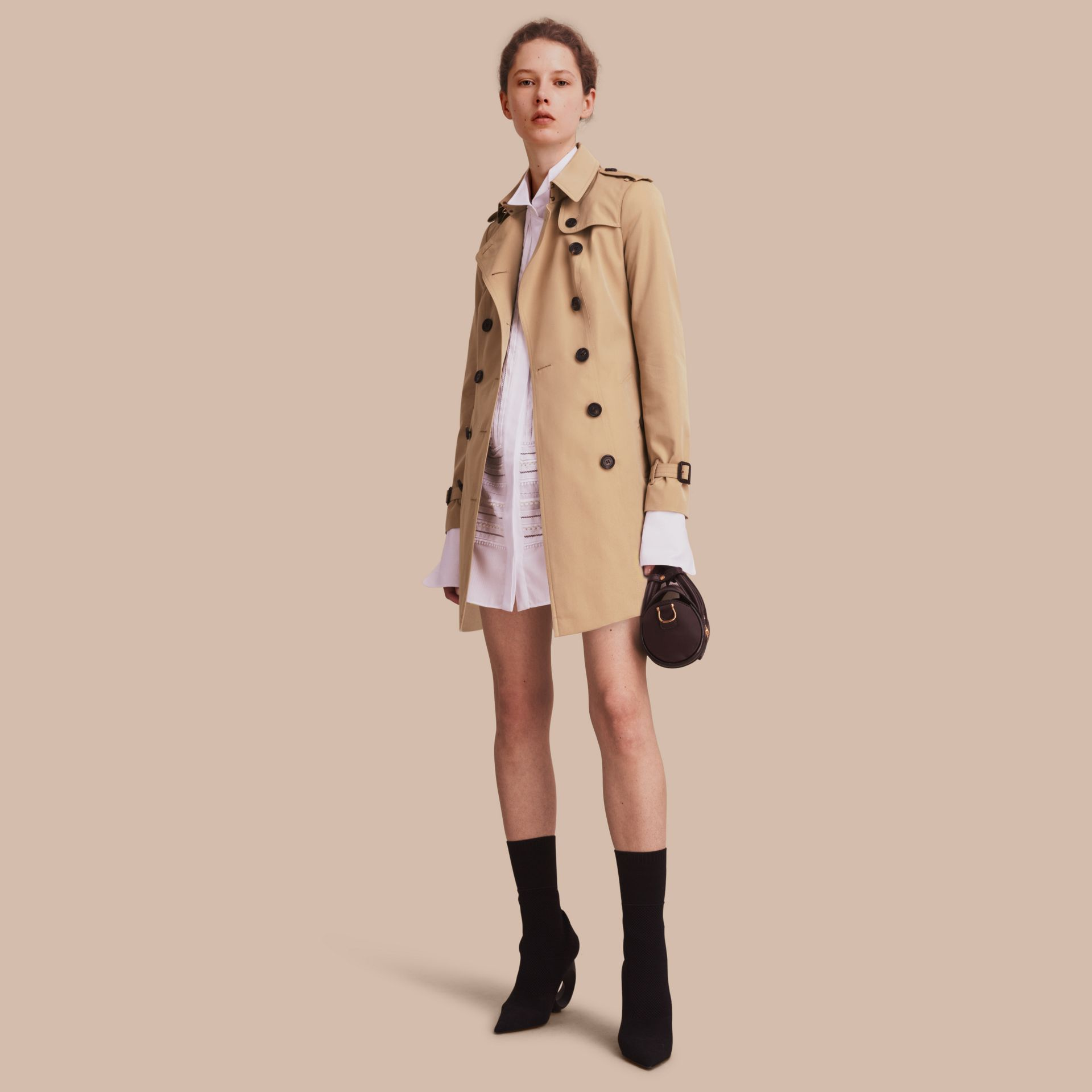 Honey The Sandringham – Mid-Length Heritage Trench Coat Honey - gallery image 1