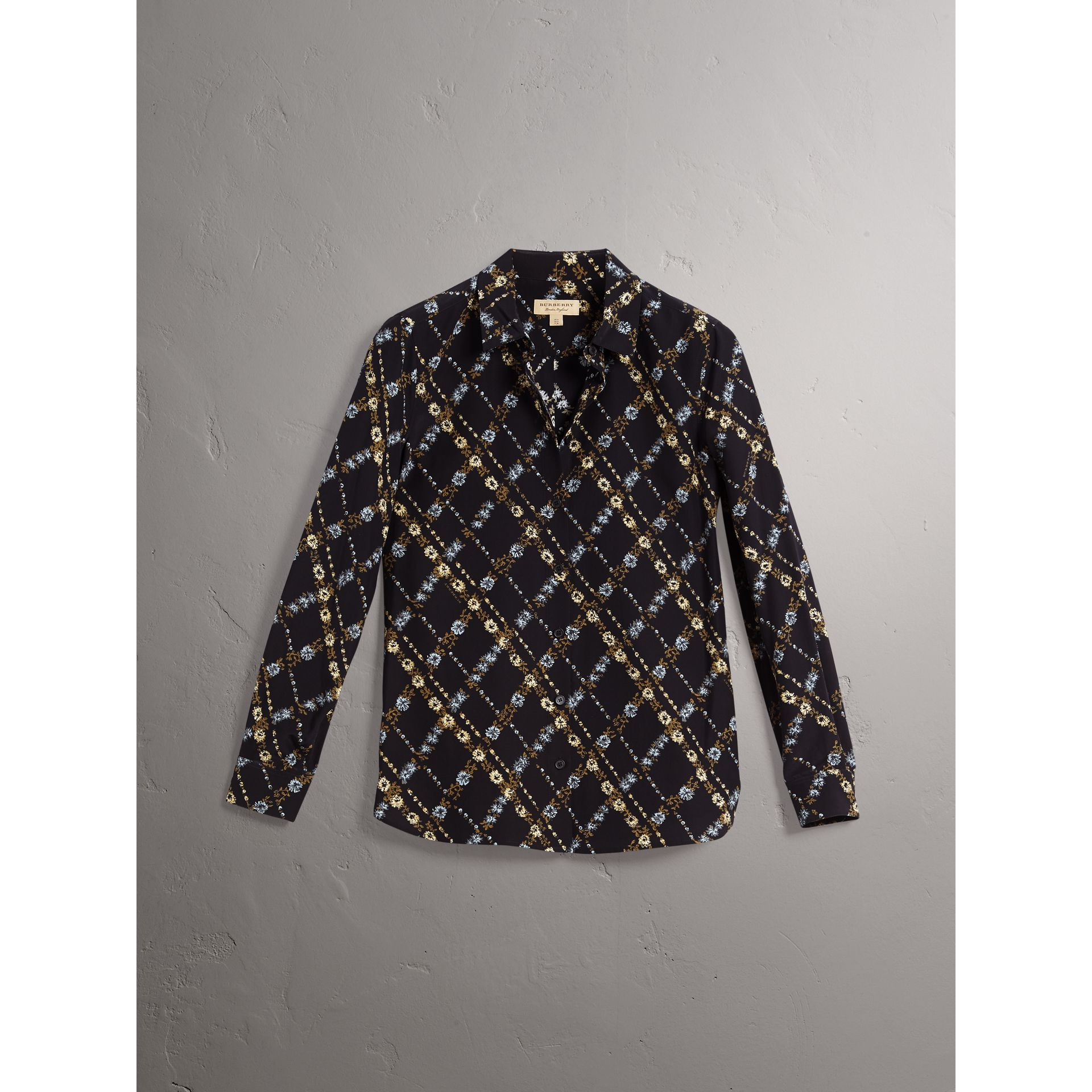 Lattice Floral Print Silk Shirt in Black - Women | Burberry - gallery image 4