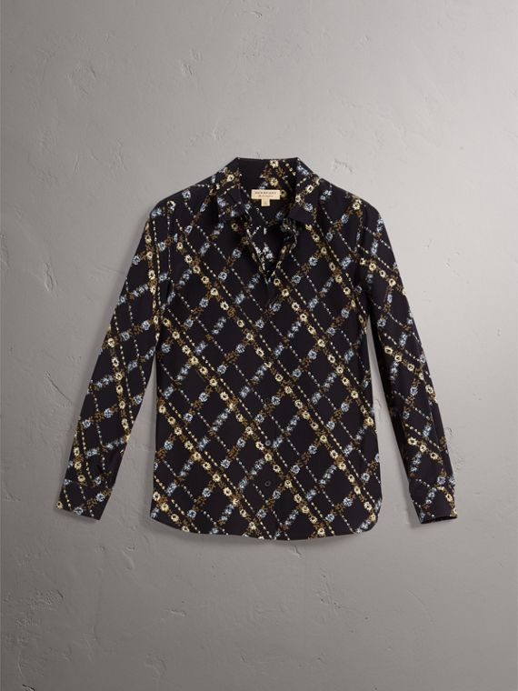Lattice Floral Print Silk Shirt in Black - Women | Burberry - cell image 3