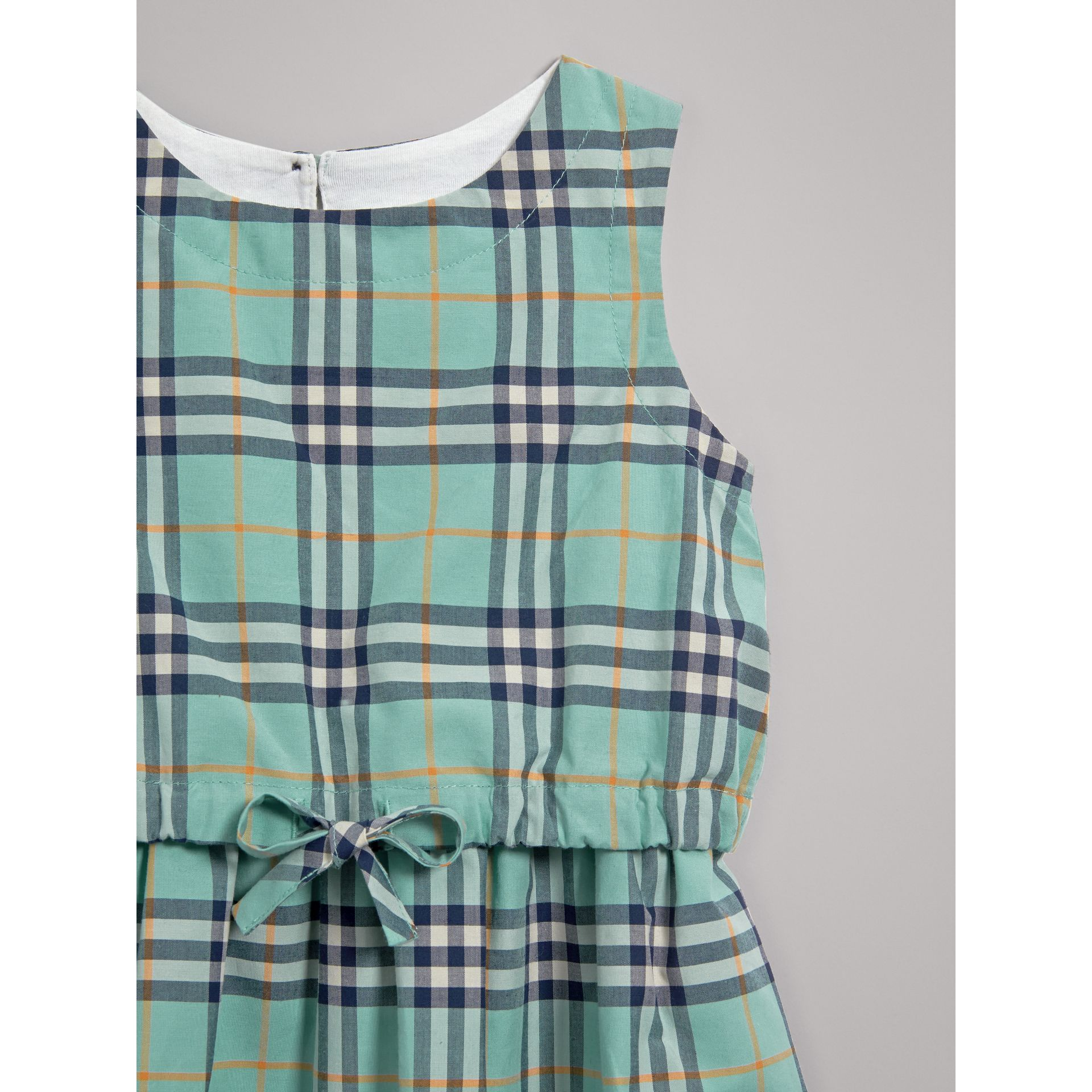 Gathered Check Cotton Dress in Bright Aqua | Burberry - gallery image 4