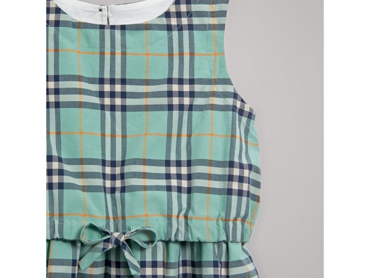 Gathered Check Cotton Dress in Bright Aqua | Burberry United Kingdom - cell image 4