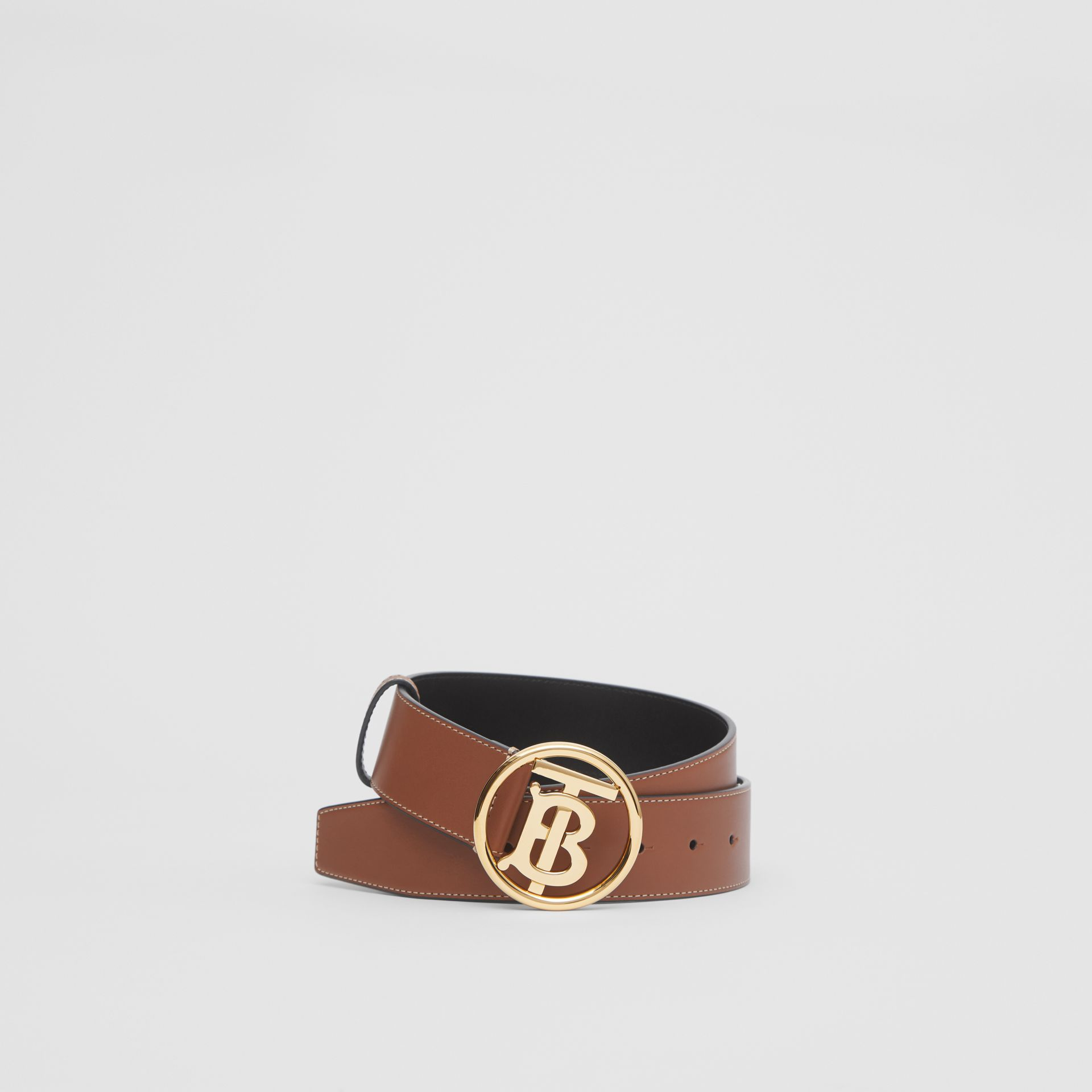 Monogram Motif Topstitched Leather Belt in Tan - Men | Burberry United Kingdom - gallery image 0