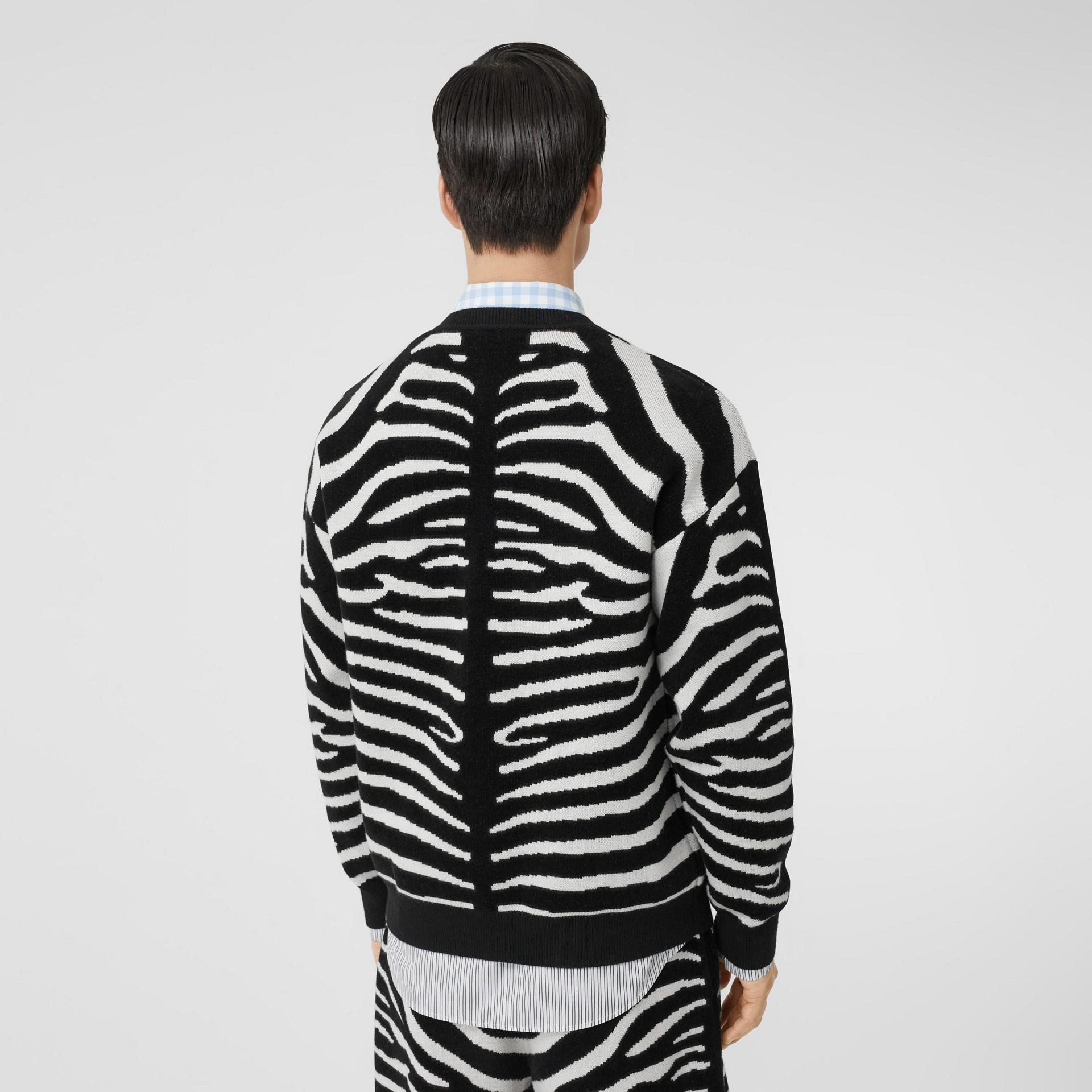 Zebra and Logo Wool Blend Jacquard Sweater in Black | Burberry United Kingdom - gallery image 2