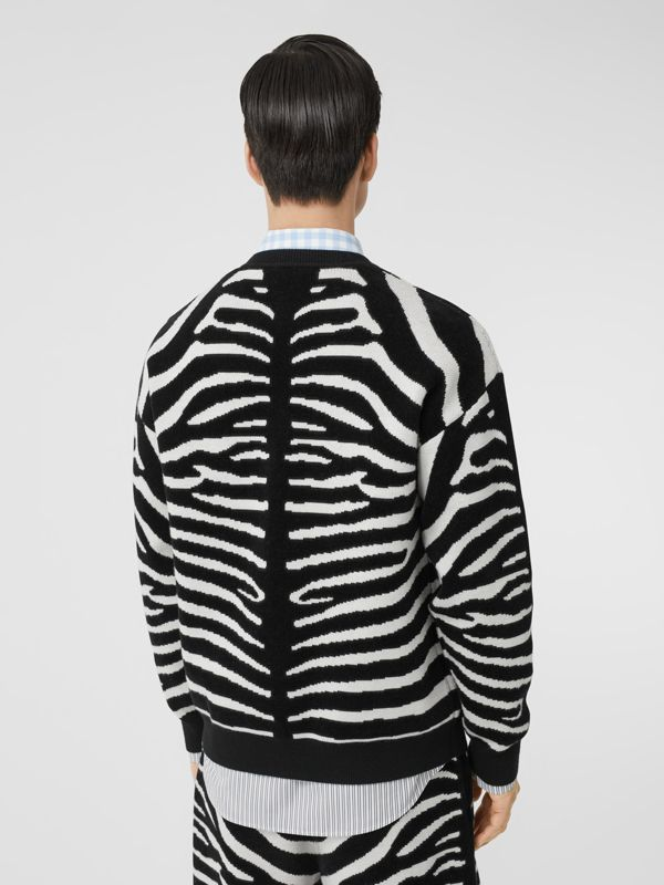Zebra and Logo Wool Blend Jacquard Sweater in Black | Burberry United Kingdom - cell image 2