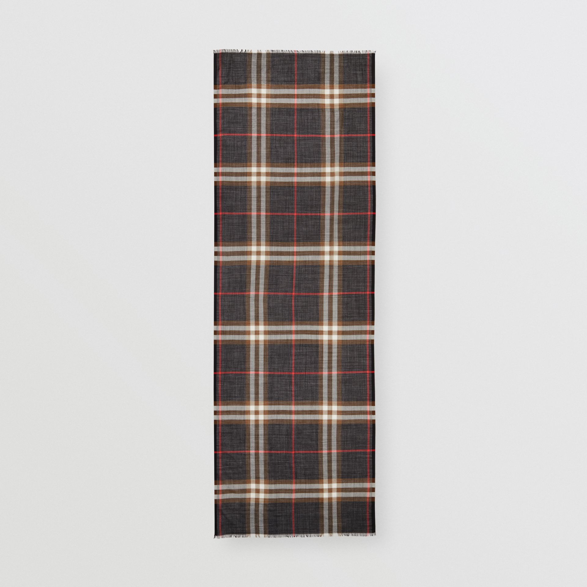Lightweight Check Wool Silk Scarf in Black / Brown | Burberry United Kingdom - gallery image 5