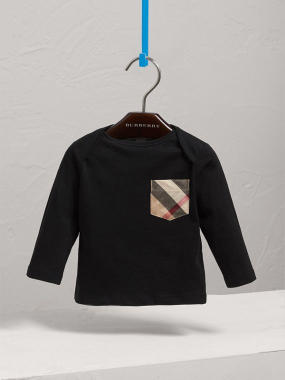 Long-sleeve Check Pocket Cotton T-shirt in Black | Burberry - cell image 2