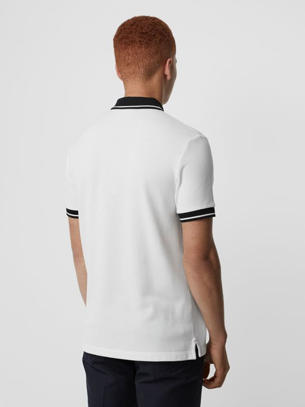 Tipped Cotton Piqué Polo Shirt in White - Men | Burberry - cell image 2
