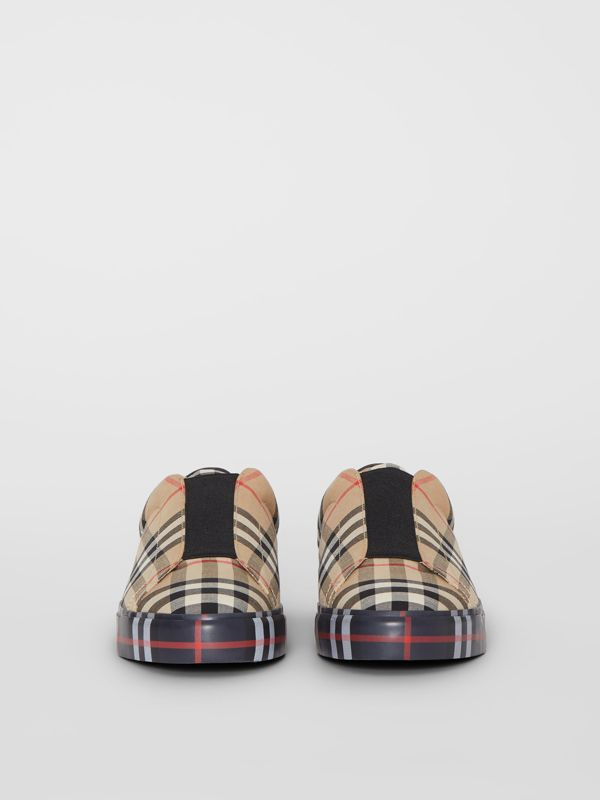 Contrast Check and Leather Slip-on Sneakers in Archive Beige - Women | Burberry - cell image 3
