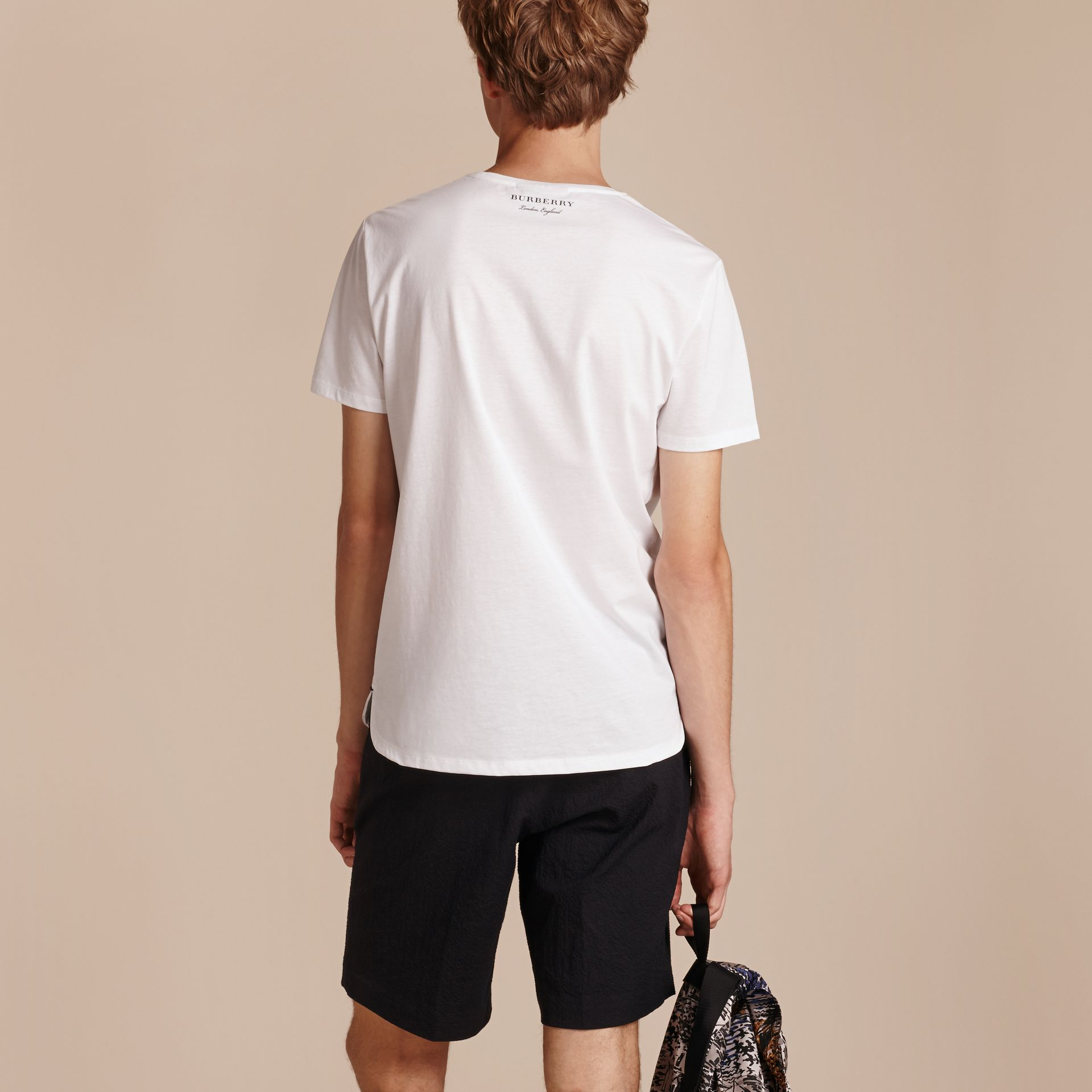 Crew Neck Cotton T-shirt in White - Men | Burberry - gallery image 3