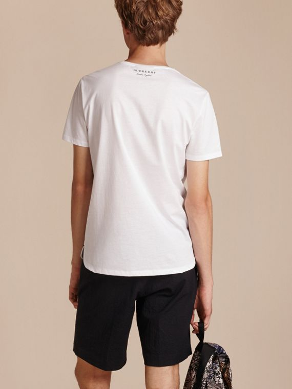 Crew Neck Cotton T-shirt in White - Men | Burberry - cell image 2