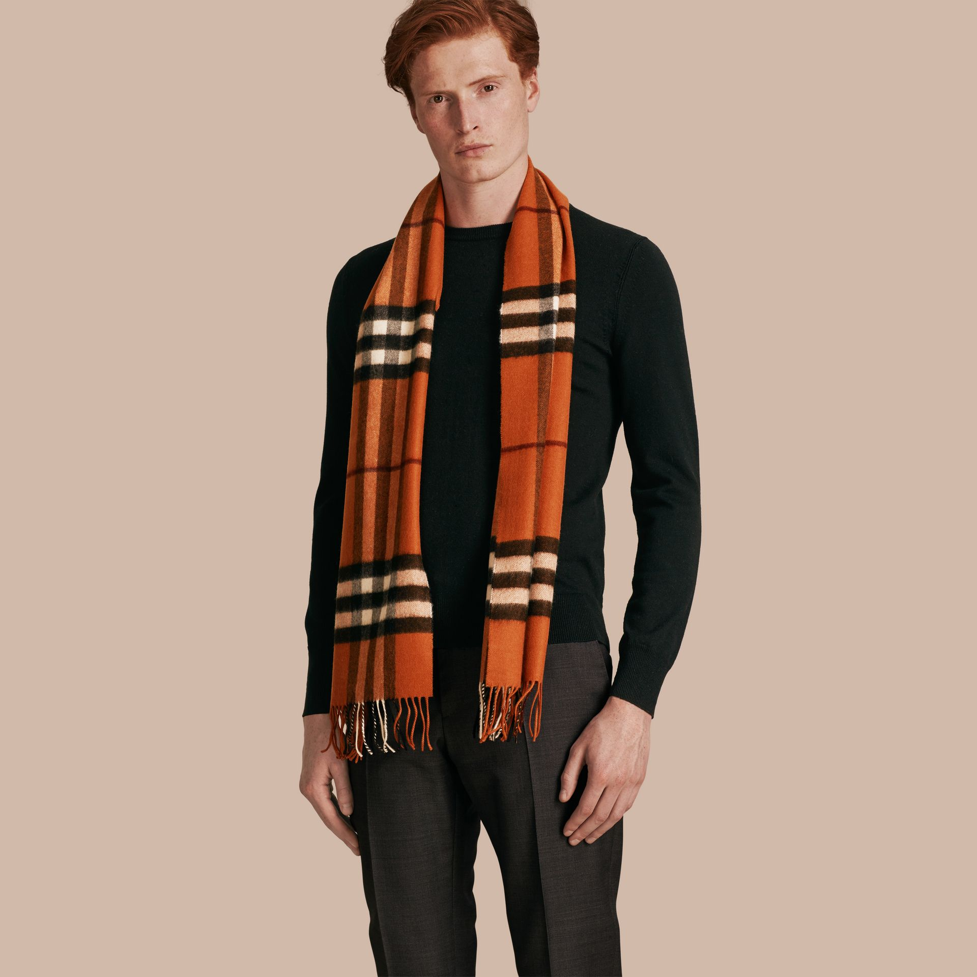 The Classic Cashmere Scarf in Check Burnt Orange - gallery image 4