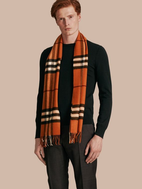 The Classic Cashmere Scarf in Check Burnt Orange - cell image 3