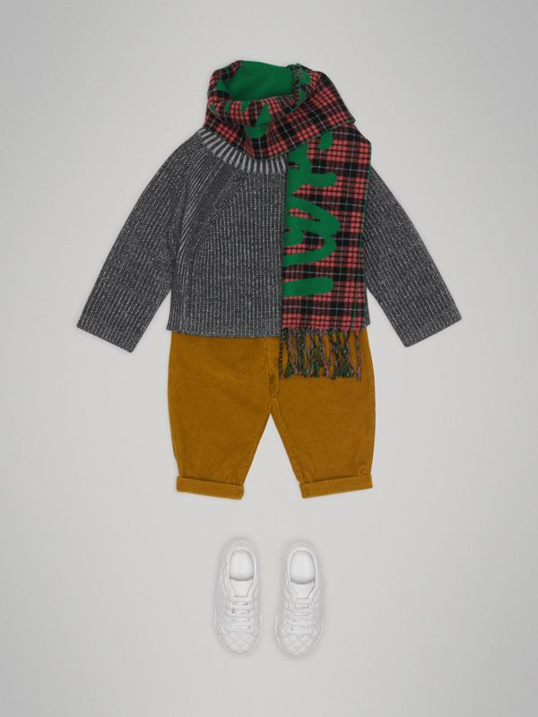 Rib Knit Merino Wool Sweater in Grey Melange - Children | Burberry - cell image 2