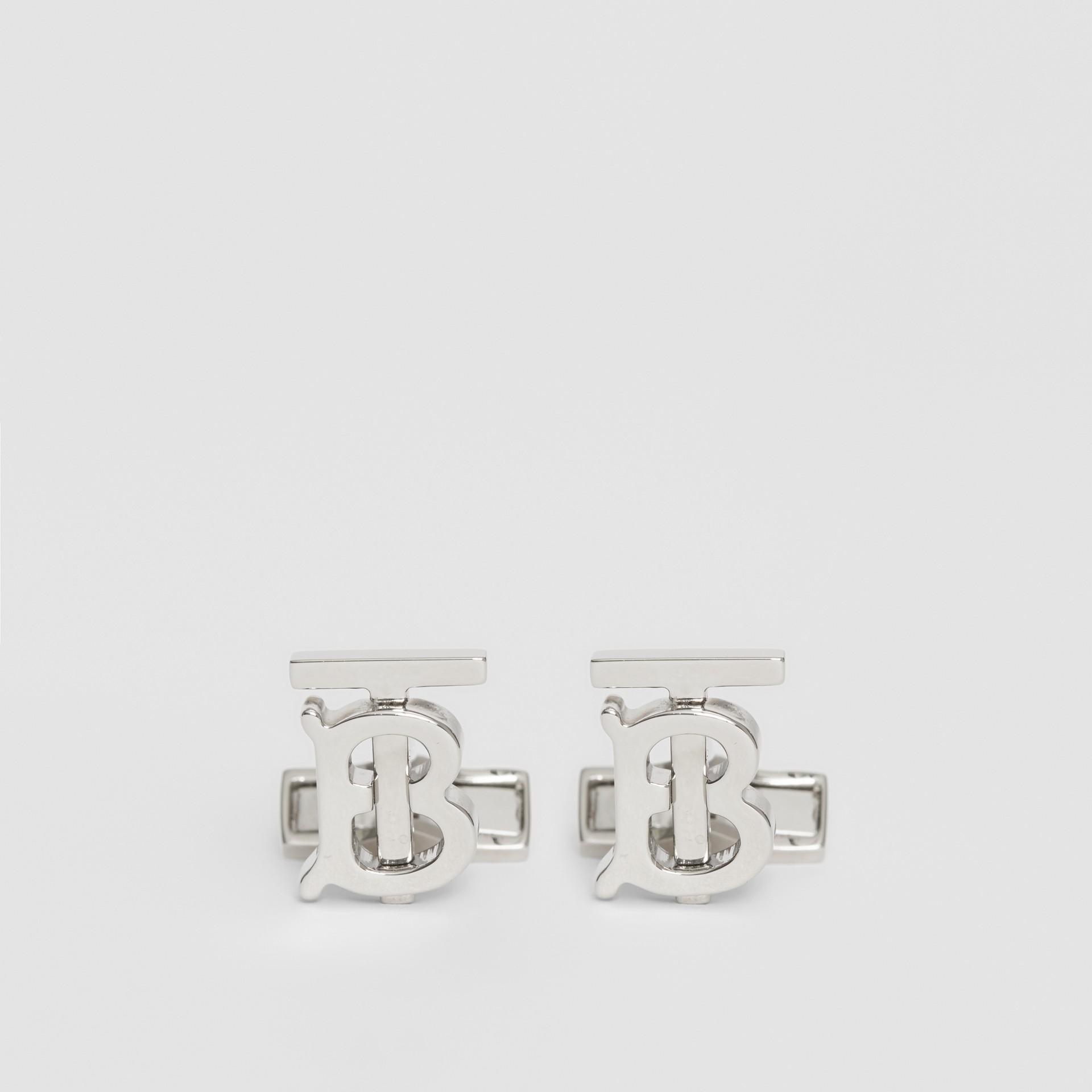 Boutons de manchette plaqués palladium Monogram - Homme | Burberry - photo de la galerie 0
