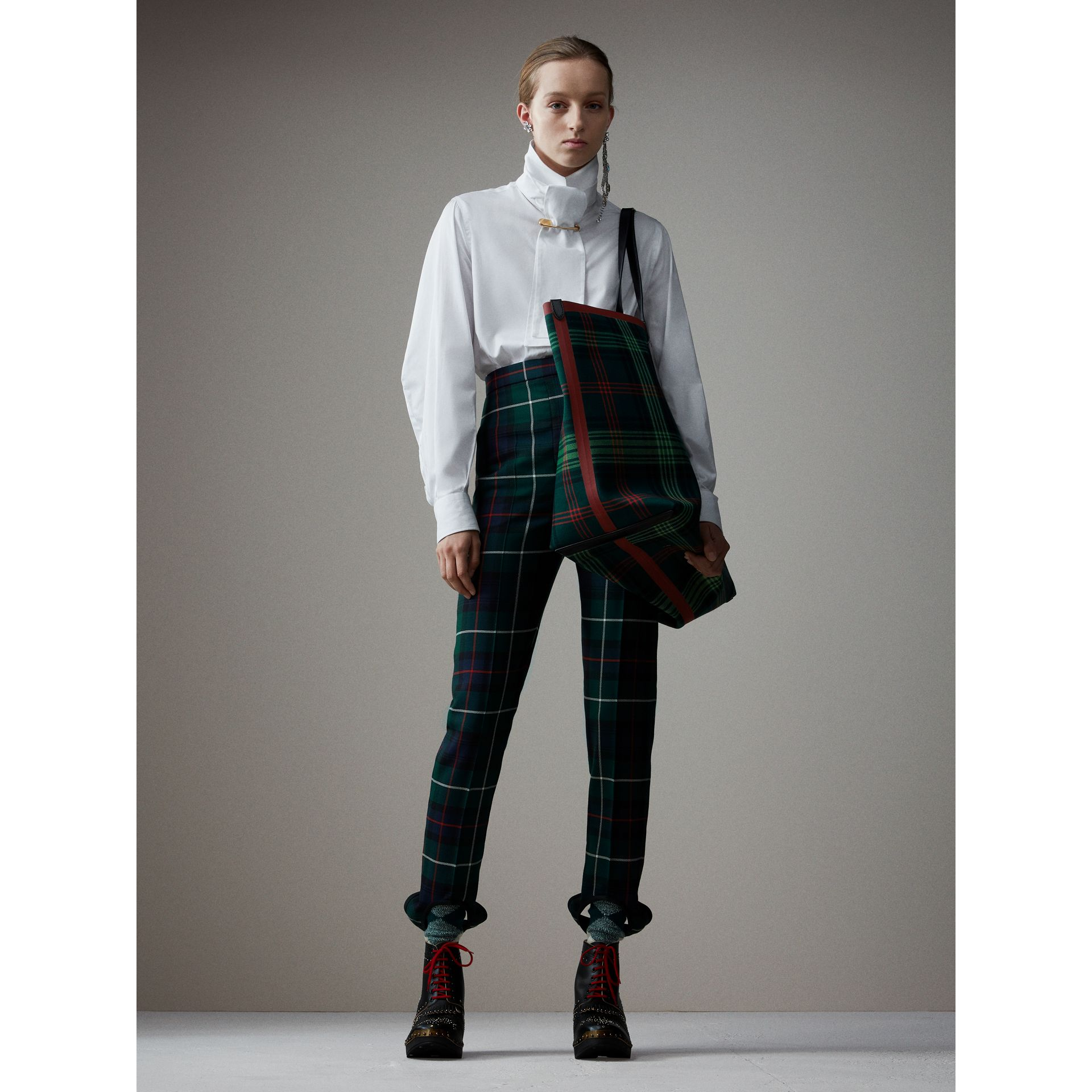 Tartan Wool High-waisted Stirrup Trousers in Forest Green - Women | Burberry - gallery image 1