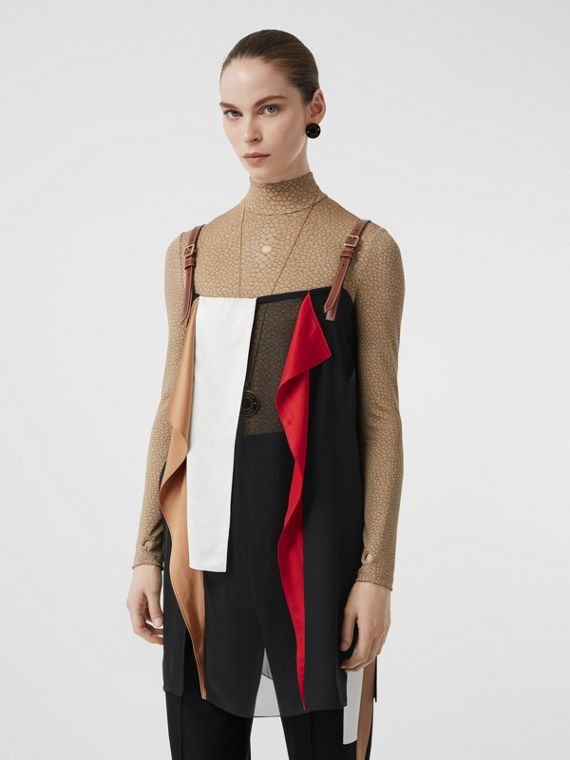 Leather Detail Colour Block Silk Top in Black