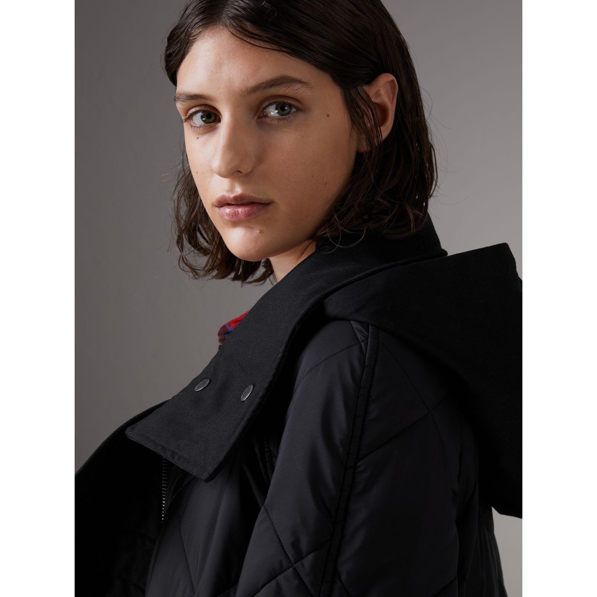 Packaway Hood Diamond Quilted Coat in Black - Women | Burberry - gallery image 5