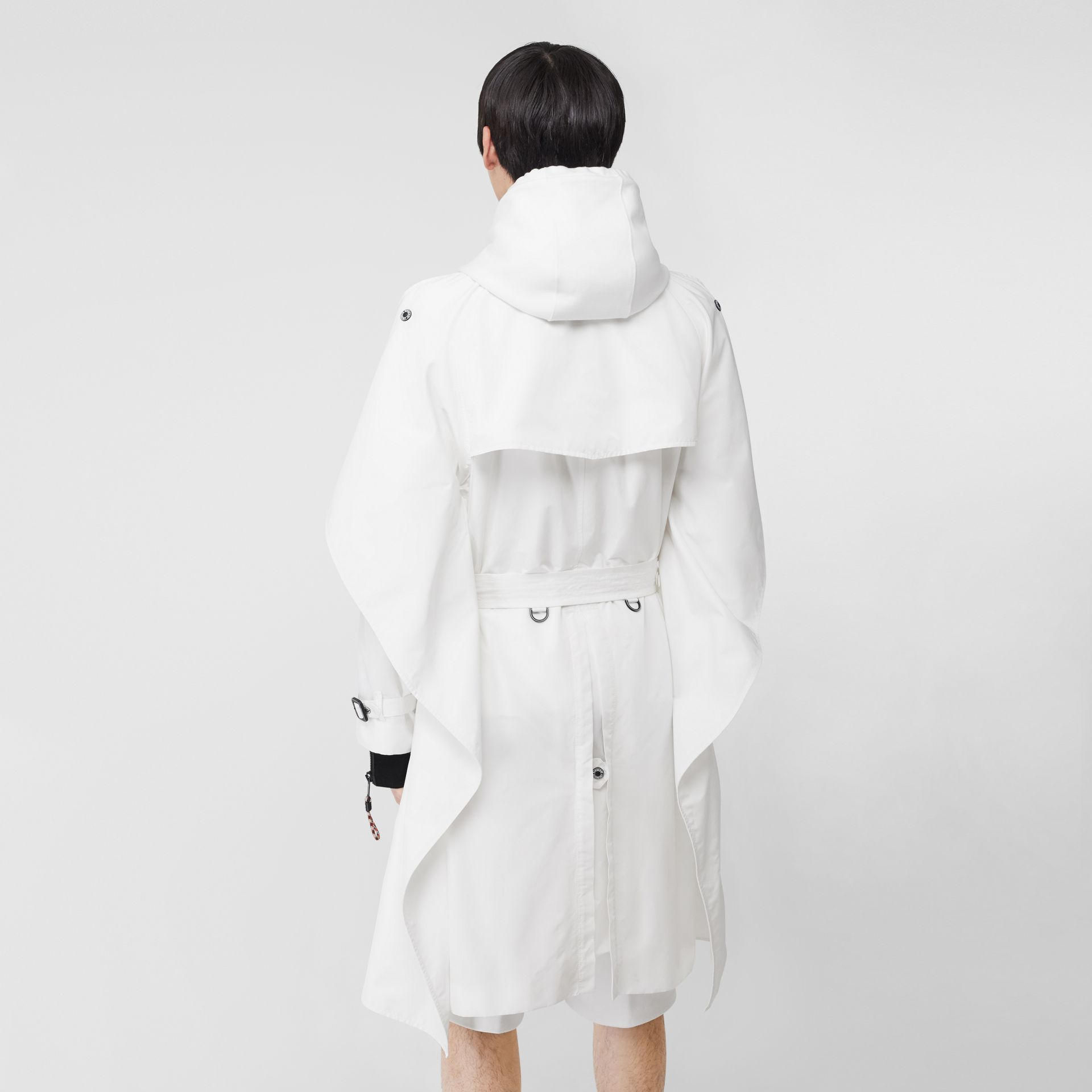 Cape Detail Technical Faille Reconstructed Trench Coat in Optic White - Men | Burberry Singapore - gallery image 1
