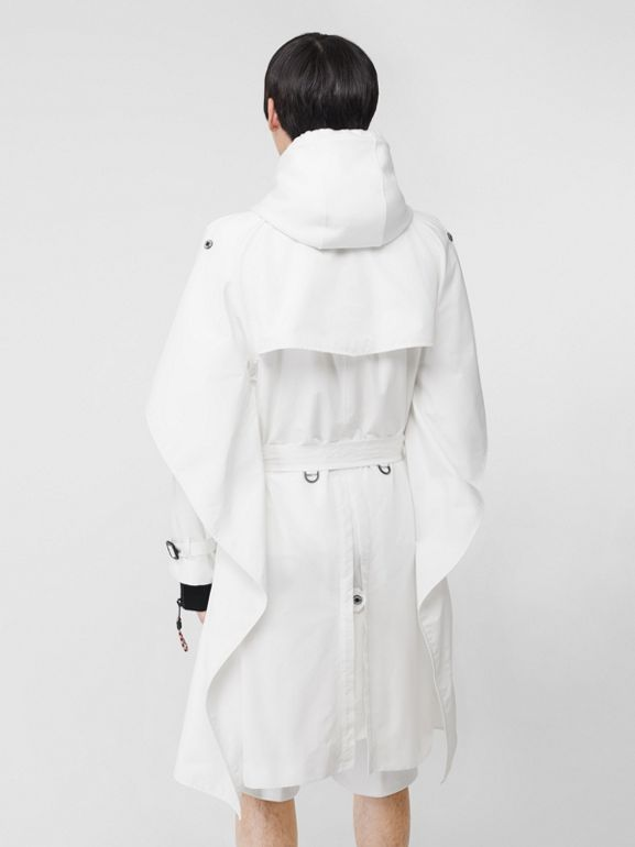 Cape Detail Technical Faille Reconstructed Trench Coat in Optic White - Men | Burberry - cell image 1
