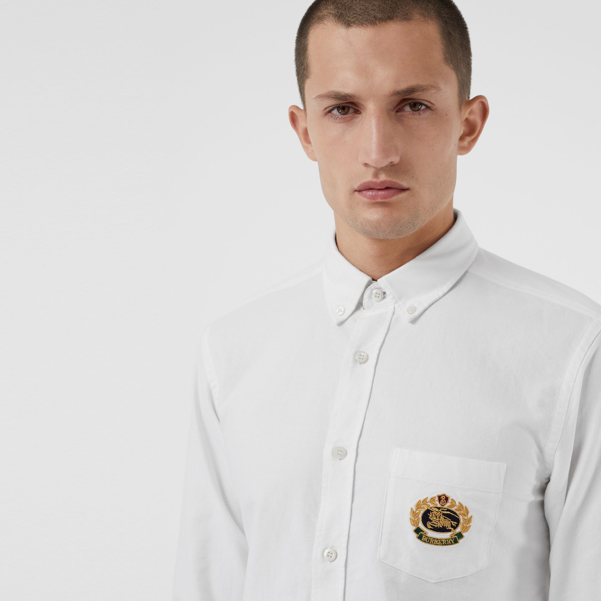 Embroidered Archive Logo Cotton Oxford Shirt in White - Men | Burberry Canada - gallery image 1
