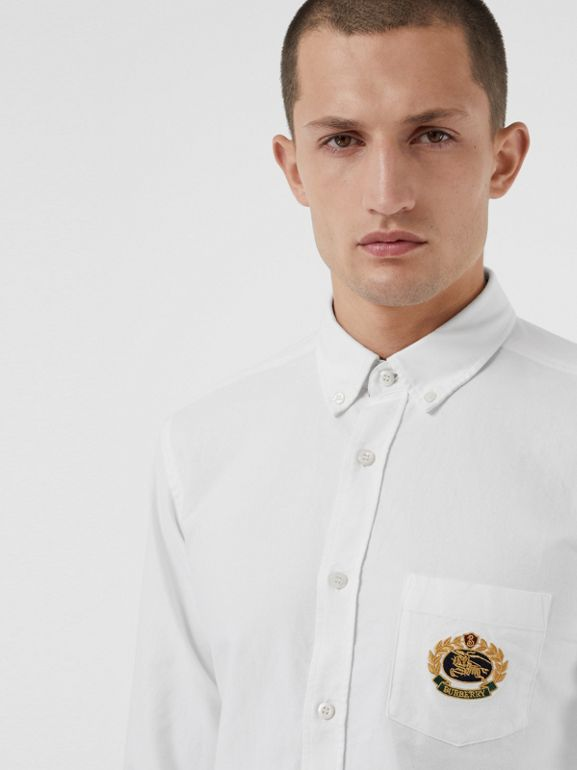 Embroidered Archive Logo Cotton Oxford Shirt in White - Men | Burberry Canada - cell image 1