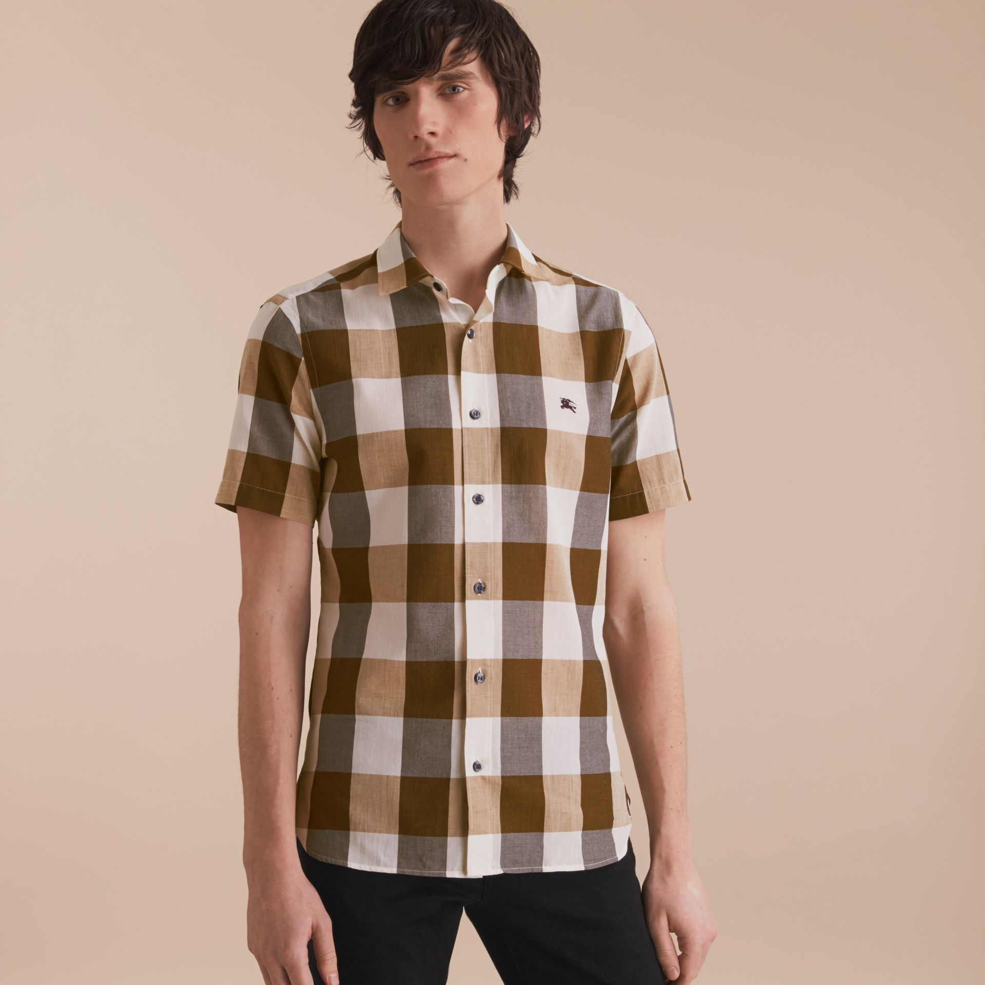 Short-sleeved Exploded Gingham Cotton Linen Shirt Camel - gallery image 6