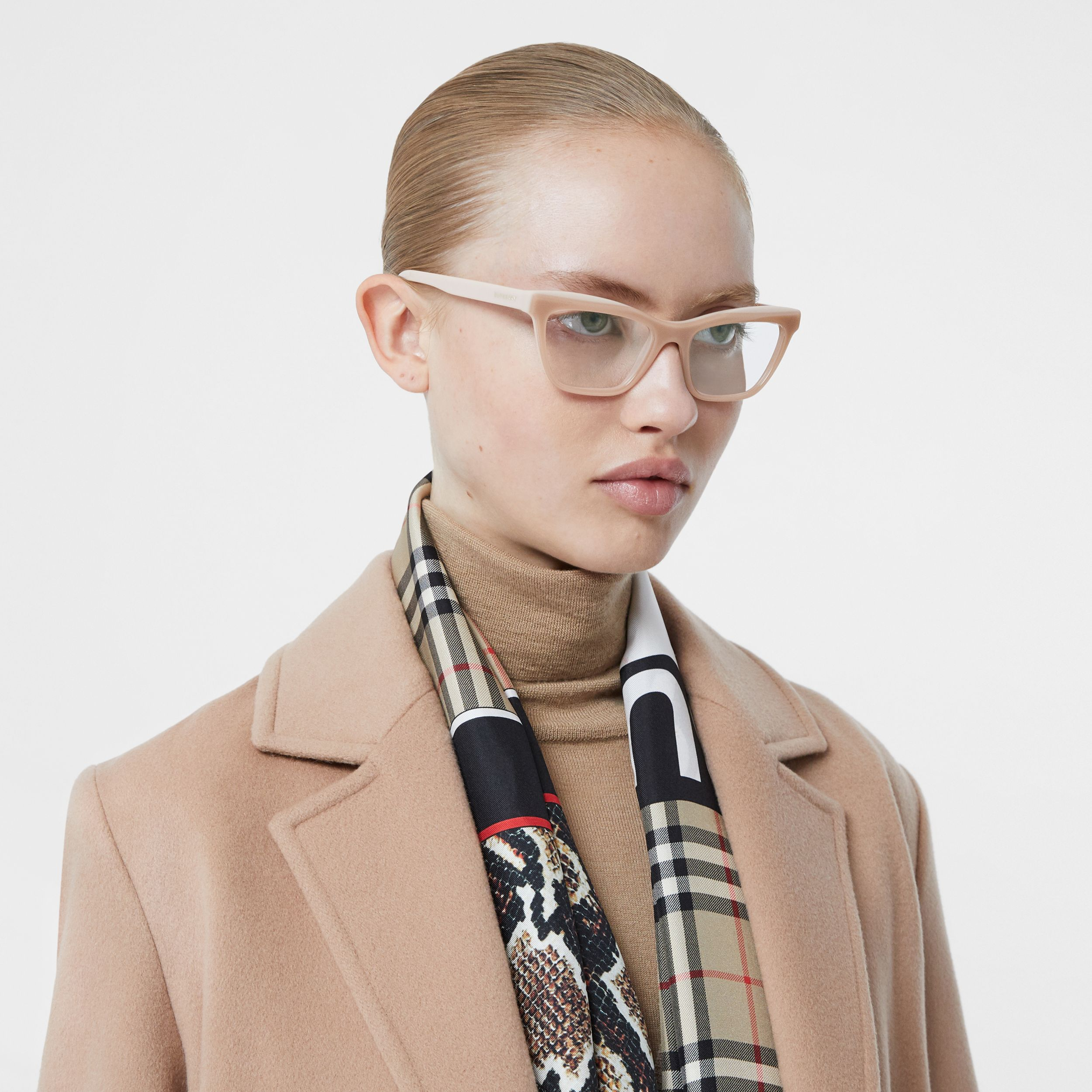 Rectangular Optical Frames in Peach - Women | Burberry - 3