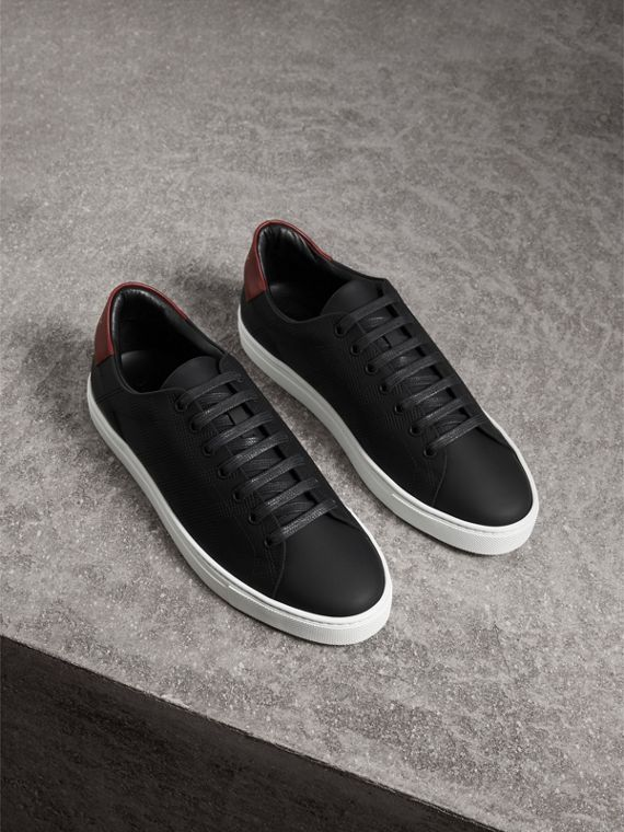 Perforated Check Leather Trainers in Black/deep Claret Melange