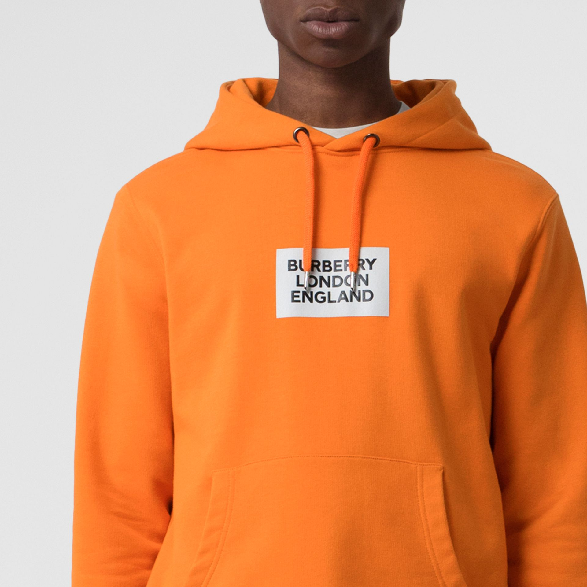 Logo Print Cotton Hoodie in Bright Orange - Men | Burberry - gallery image 5