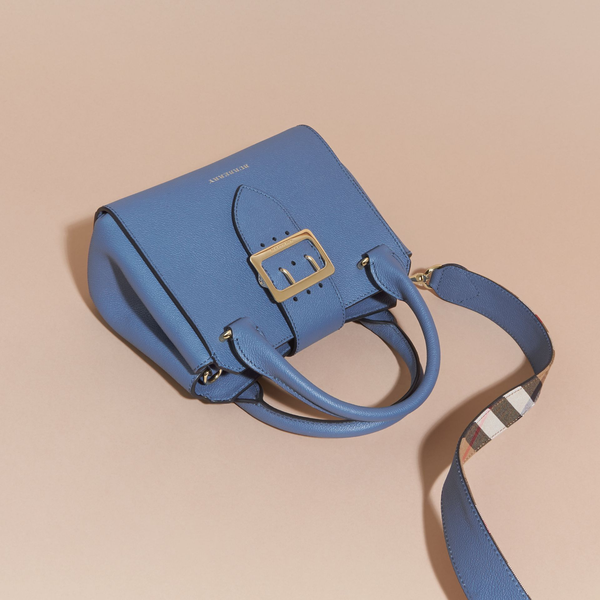 The Small Buckle Tote in Grainy Leather Steel Blue - gallery image 8