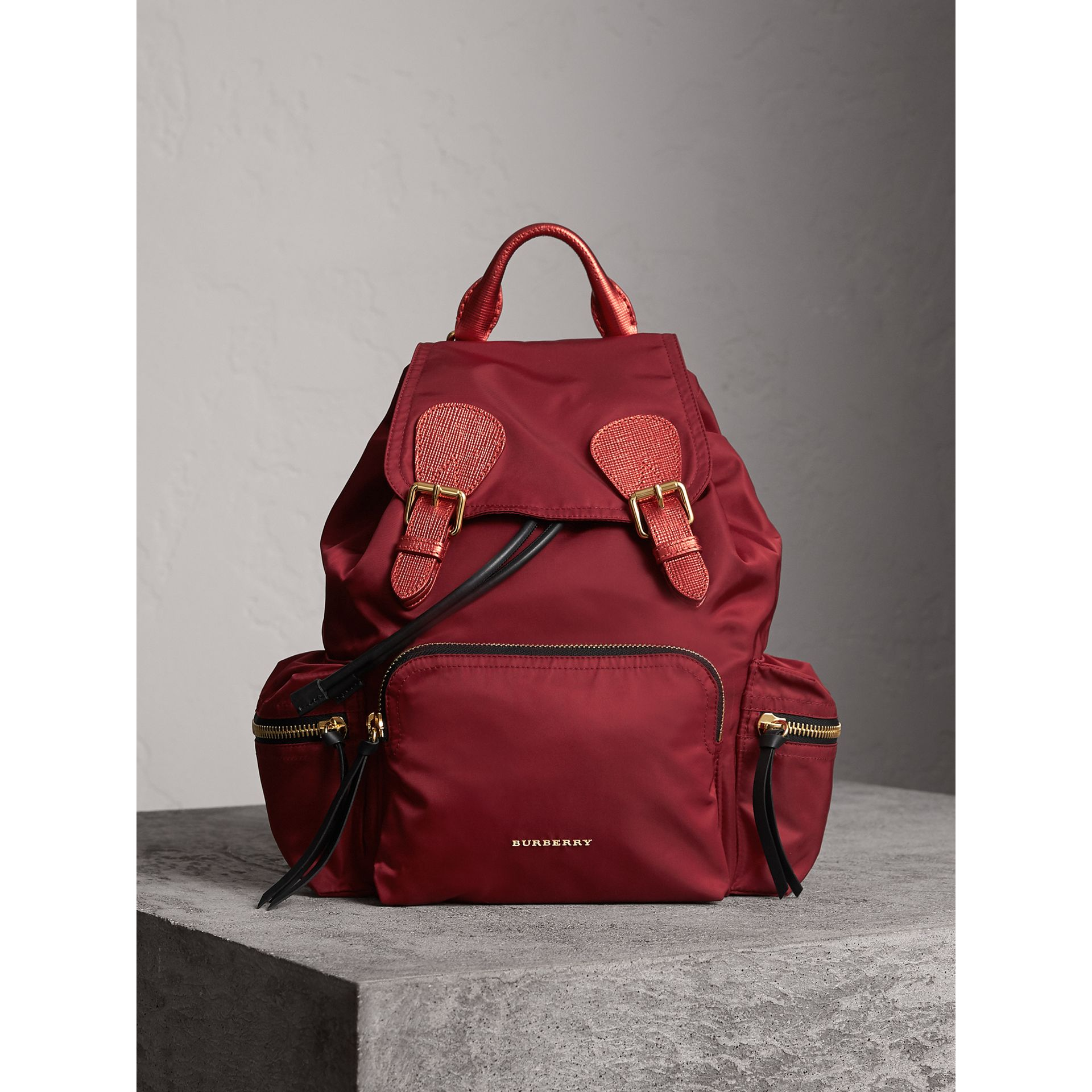 The Medium Rucksack in Technical Nylon and Leather in Crimson Red - Women | Burberry - gallery image 7