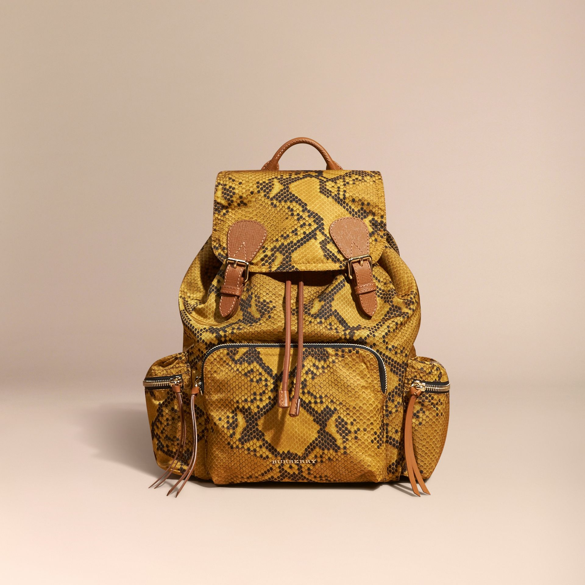 The Large Rucksack in Python Print Nylon and Leather Yellow - gallery image 8