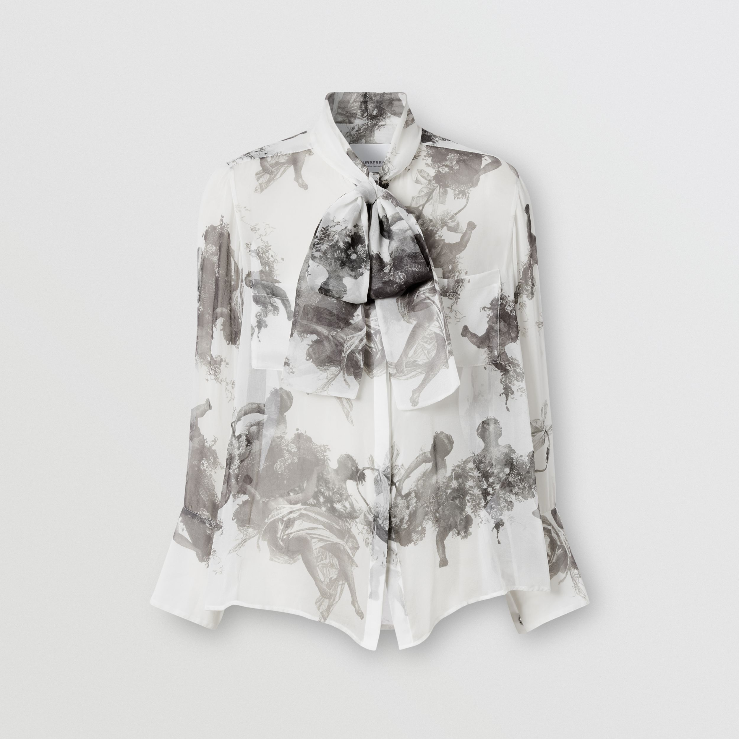Angel Print Silk Chiffon Pussy-bow Blouse in Black - Women | Burberry - 4