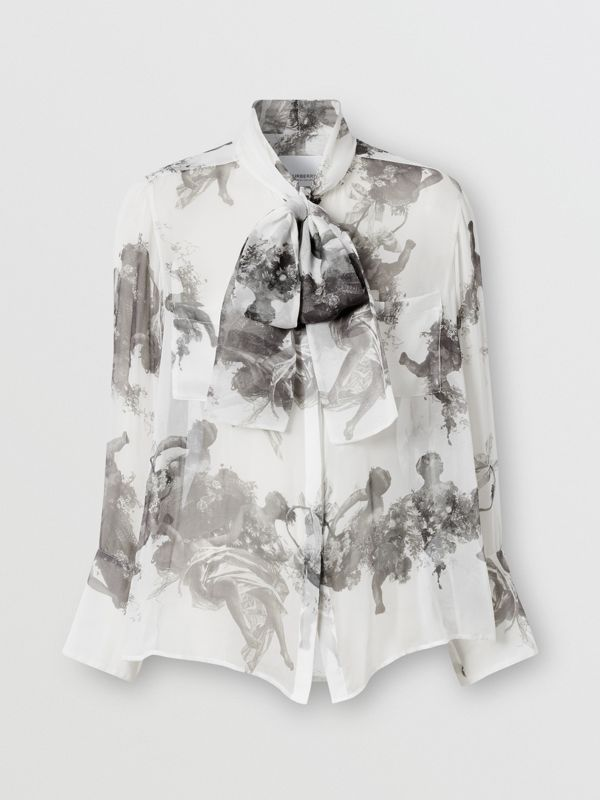 Angel Print Silk Chiffon Pussy-bow Blouse in Black - Women | Burberry United Kingdom - cell image 3