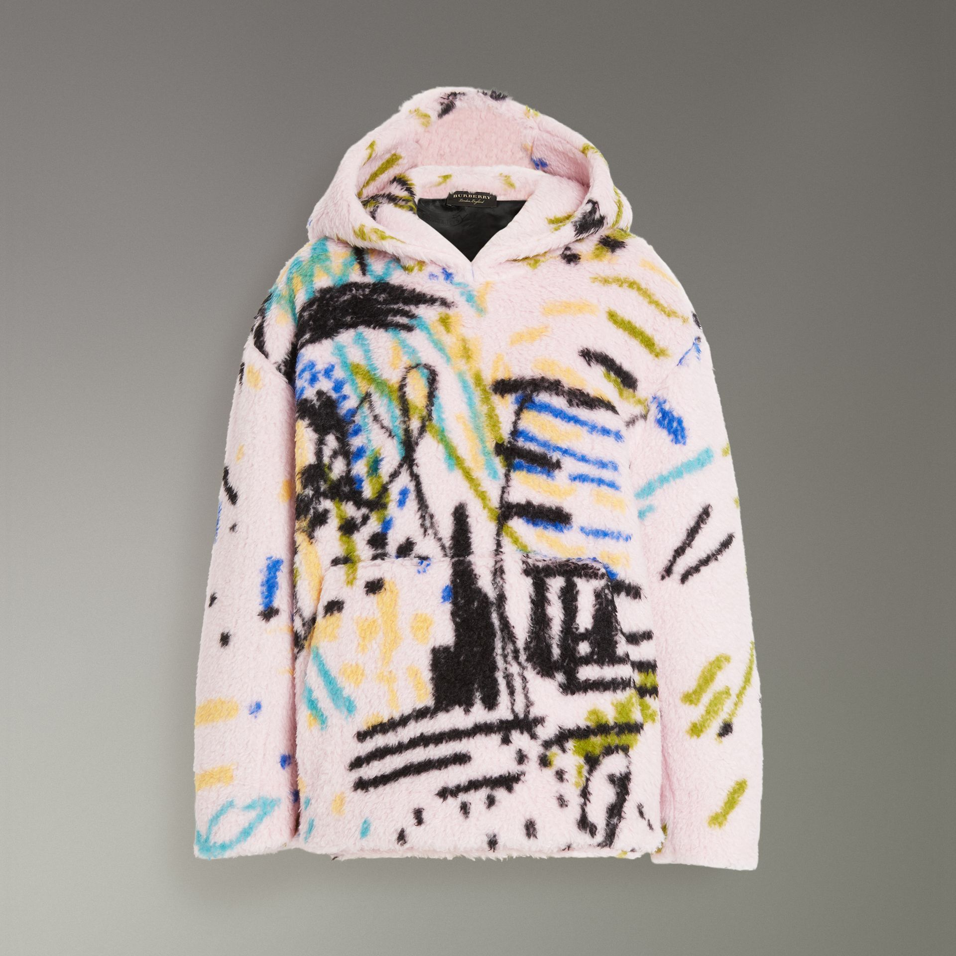 Graffiti Print Cashmere Silk Fleece Hoodie in Pale Rose - Women | Burberry - gallery image 3