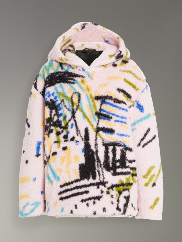 Graffiti Print Cashmere Silk Fleece Hoodie in Pale Rose - Women | Burberry - cell image 3