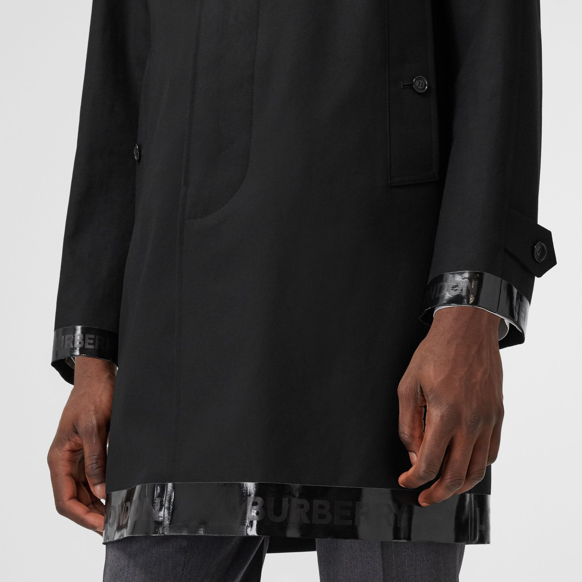 Logo Tape Cotton Car Coat in Black - Men | Burberry - gallery image 4