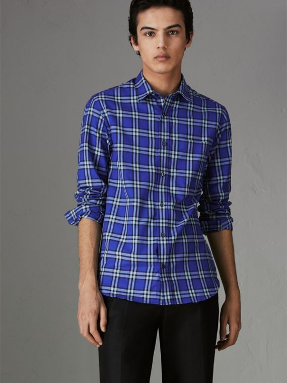 Check Cotton Shirt in Bright Lapis