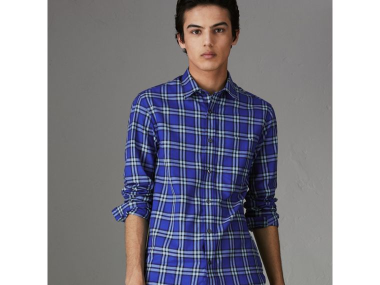 Check Cotton Shirt in Bright Lapis - Men | Burberry Australia - cell image 4