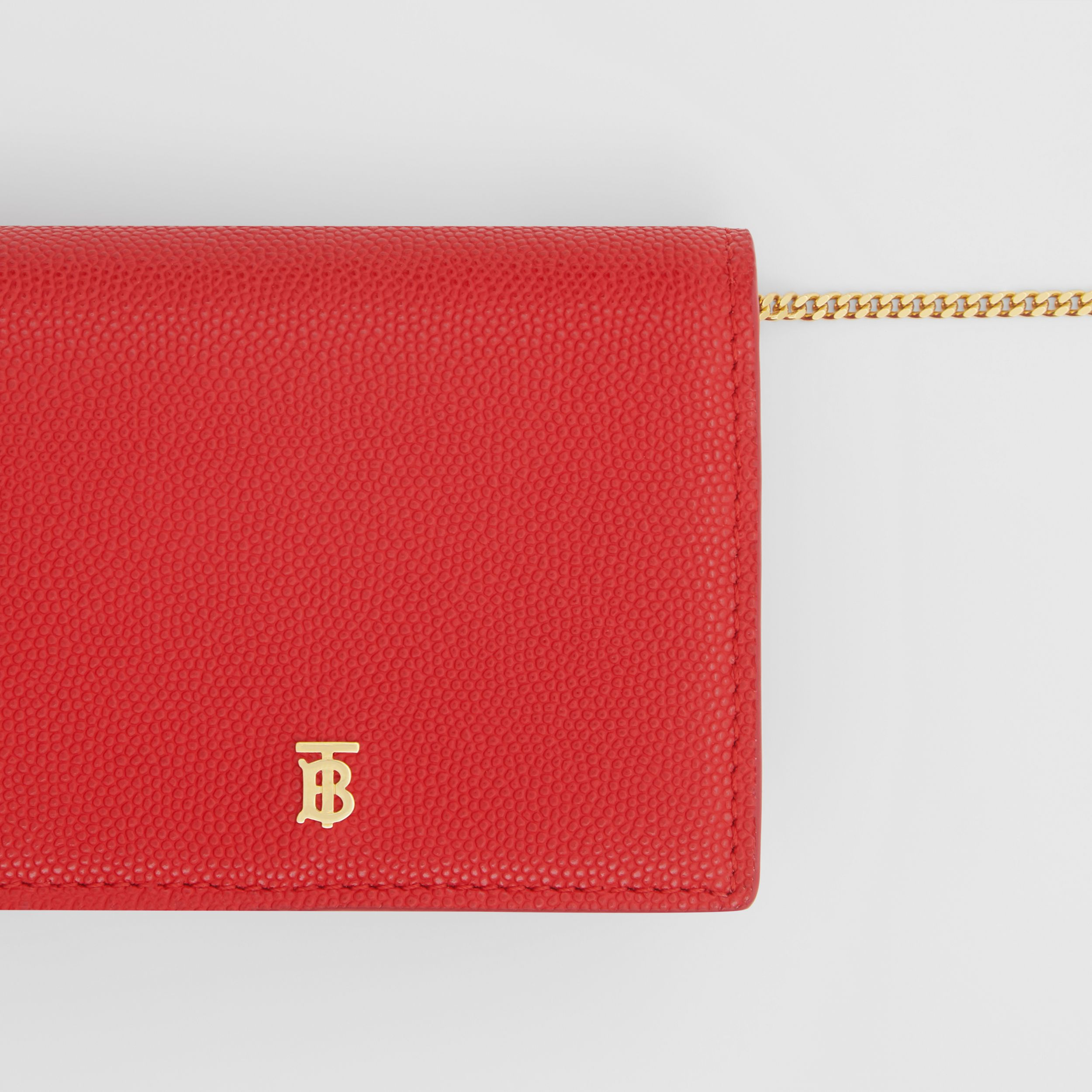 Grainy Leather Card Case with Detachable Strap in Bright Red - Women | Burberry Hong Kong S.A.R. - 2