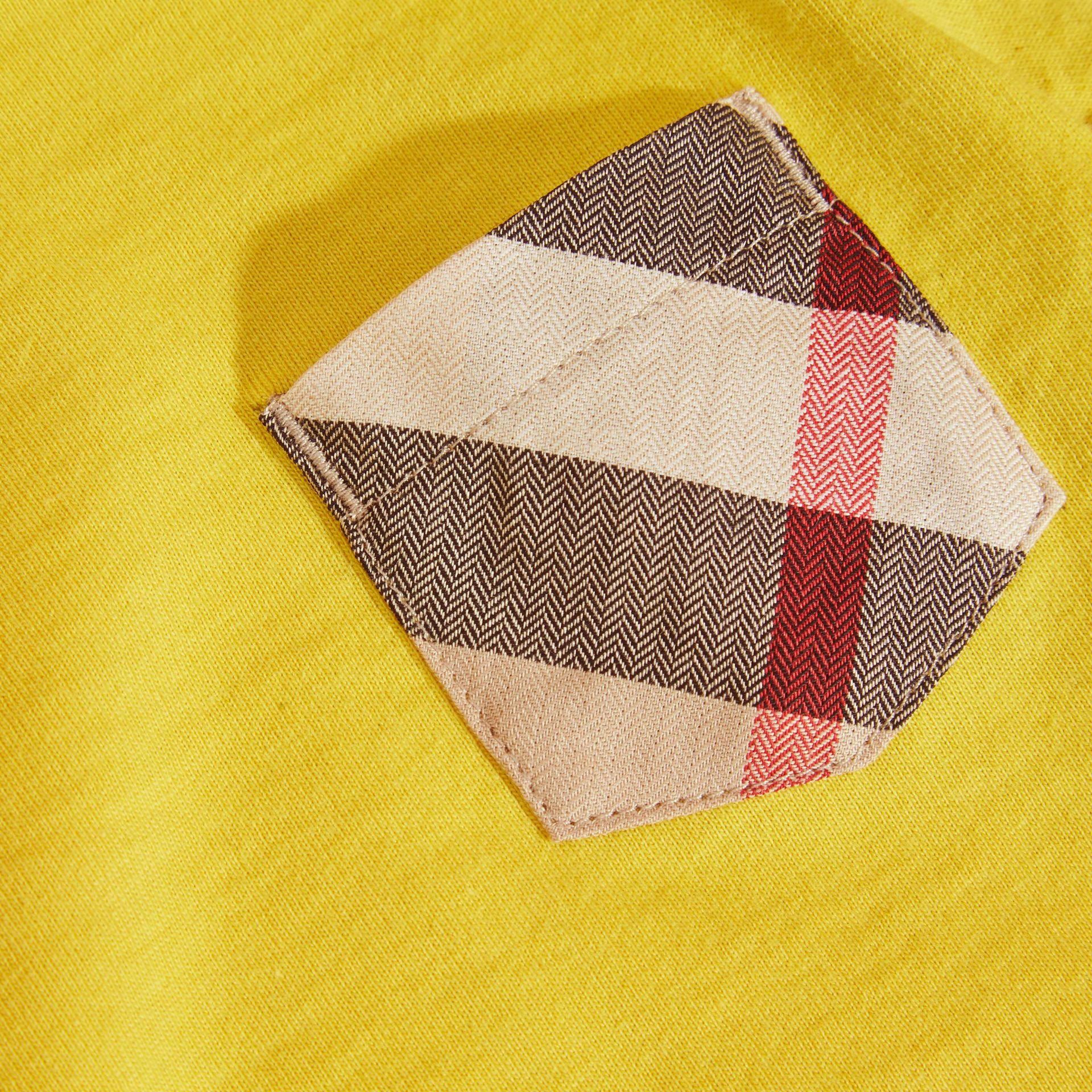 Check Pocket T-Shirt in Bright Yellow - gallery image 2