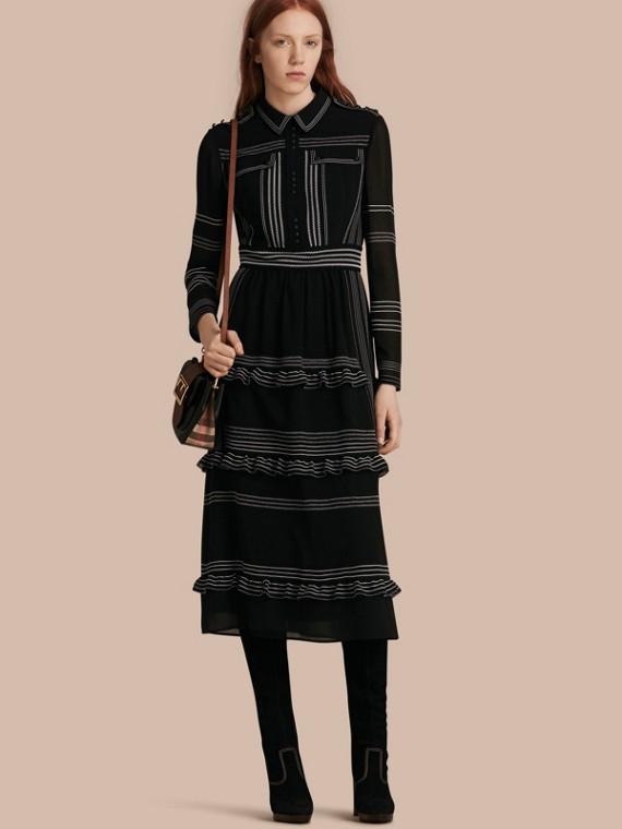 Topstitch Detail Silk Shirt Dress