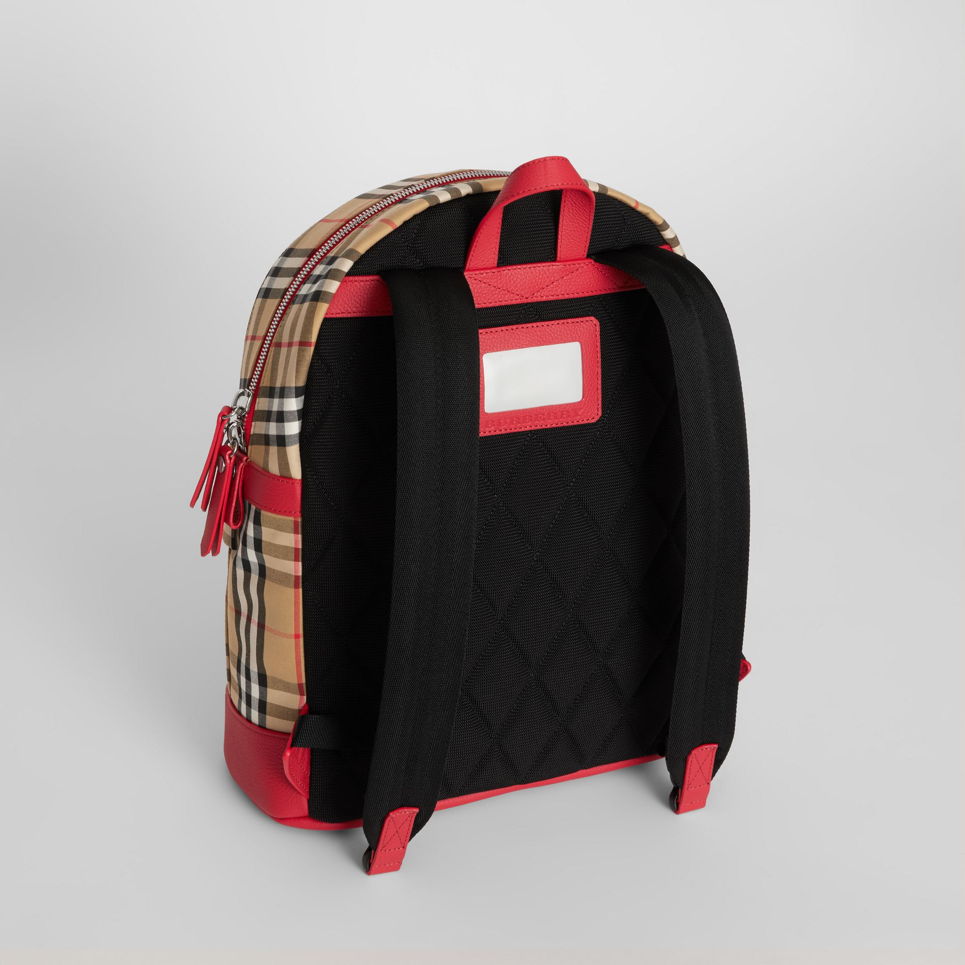 Embroidered Archive Logo Vintage Check Backpack in Antique Yellow | Burberry Canada - gallery image 3
