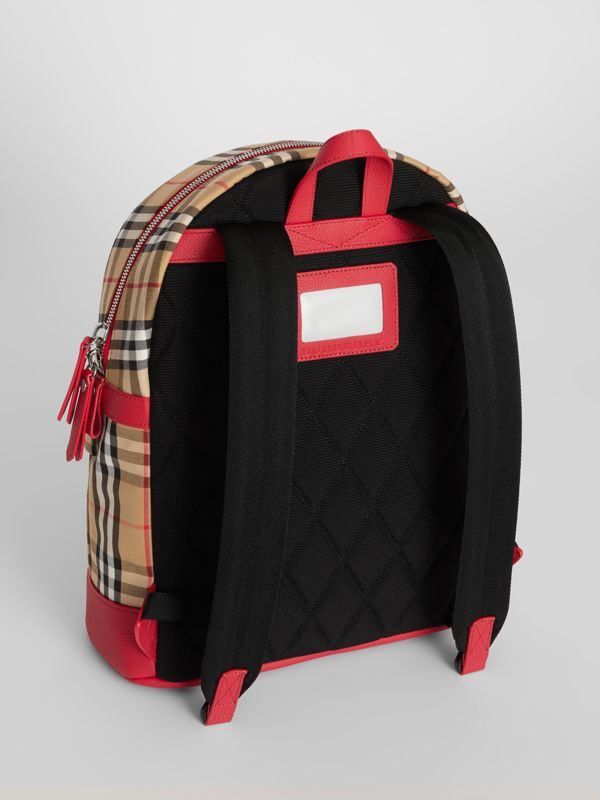 Embroidered Archive Logo Vintage Check Backpack in Antique Yellow | Burberry - cell image 3