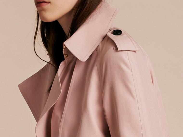 Chalk pink Lightweight Slub Silk Wrap Trench Coat - cell image 4