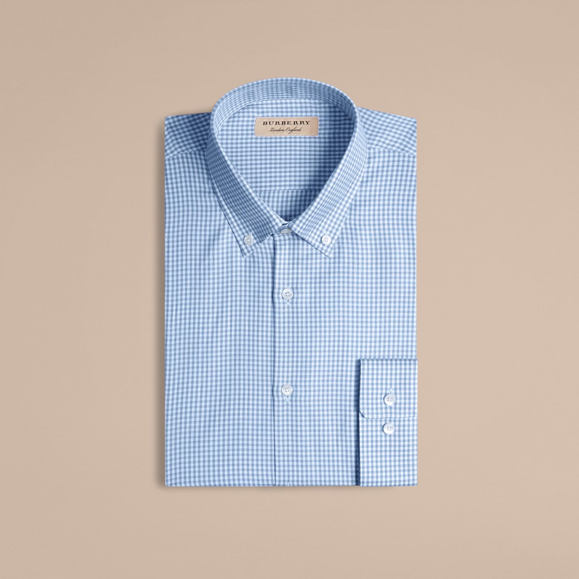 Bleu moyen Chemise moderne en coton à motif check avec col boutonné Bleu Moyen - photo de la galerie 4