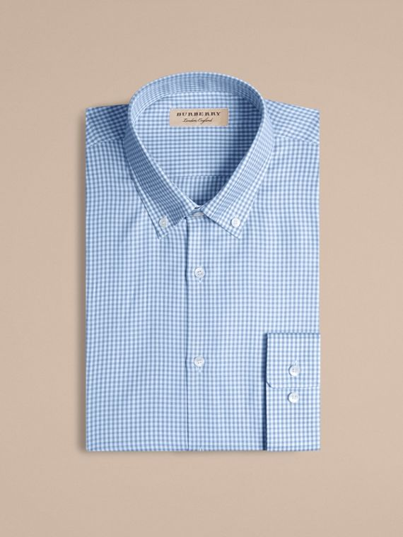 Mid blue Modern Fit Button-down Collar Check Cotton Shirt Mid Blue - cell image 3
