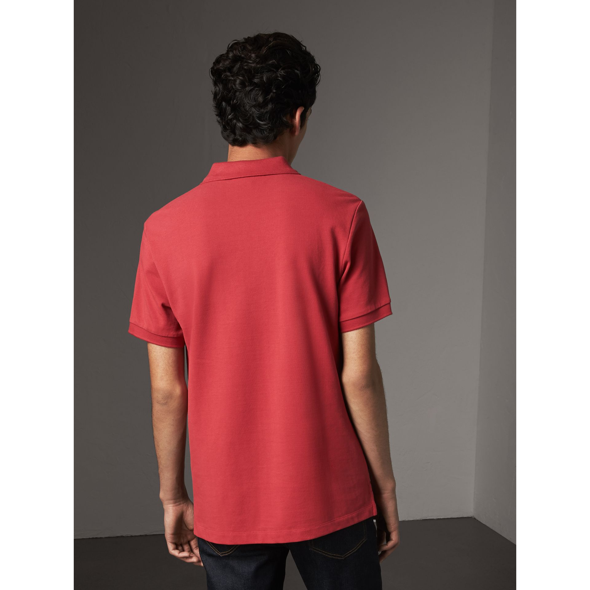 Check Placket Cotton Piqué Polo Shirt in Coral Red - Men | Burberry - gallery image 2