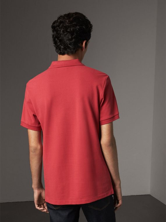 Check Placket Cotton Piqué Polo Shirt in Coral Red - Men | Burberry - cell image 2