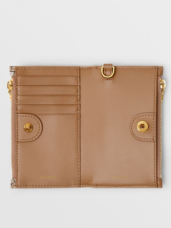 Monogram Motif Leather Wallet with Detachable Strap in Beige - Women | Burberry - cell image 3